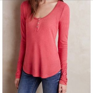 Anthropologie Eloise Pink/Coral Ribbed Henley XS